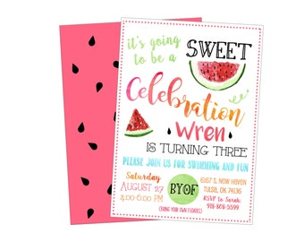 Summer Girl Birthday Party Invitation Printable, Watermelon, Sweet, Watercolor, Three