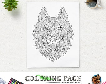 Printable Coloring Pages Husky Head Animal Coloring Page Adult Coloring  Book Adult Coloring Antistress Zen Coloring