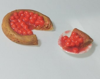 MIniature food Cherry Pie fake Miniature Food Handmade realistic miniature food Calico Critters  Fairy Garden food 12th scale miniature food