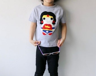 Kids Superhero Shirt - Wonder Girl - Kids T-Shirt - Children's Clothing - Girls or Boys Gift