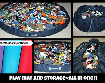 Play Mat and Storage. Toy storage. Toy container  small toy storage. Floor play mat. Drawstring mat