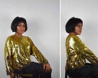80s Top/Sequin Top/Gold Sequin Top by Oleg Cassini
