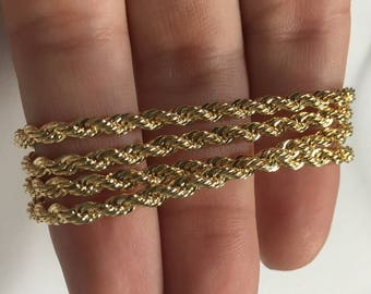 18k Gold Plated Rope Chain 2.90mm [19in and 23in long]