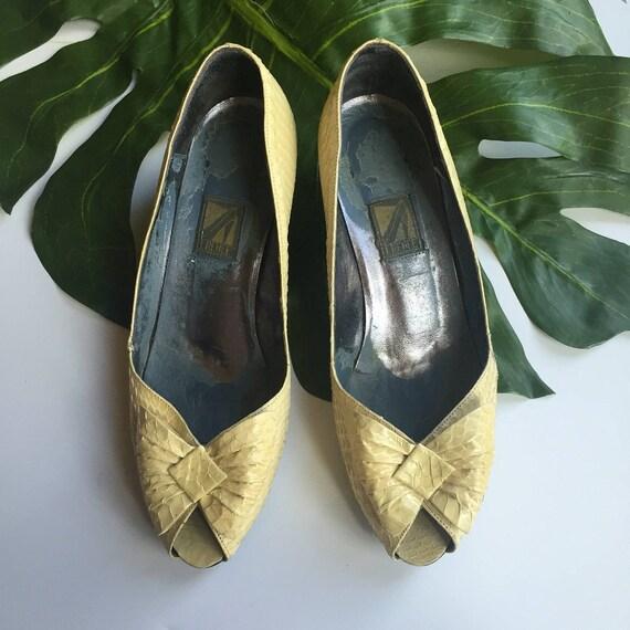 7.5 snakeskin peep toe vintage slip on pumps open toed womens high heels bow tie accessory SHOES cream 8