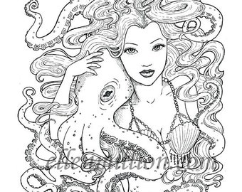 Tentacle Friends Beautiful Mermaid Octopus Digi Stamp Digital Coloring Page for adults - for scrapbooking or cards or coloring