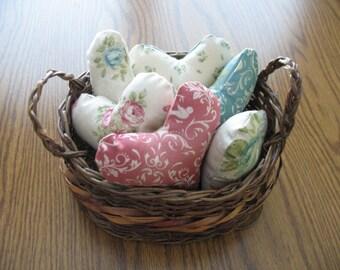 6 fabric hearts