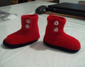 chaussons boots bébé- rouges- 3 mois