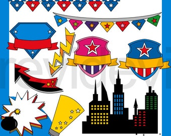 Superhero city party clipart commercial use / buildings, light, banners, badge clip art / digital images