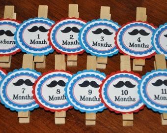 Mustache Photo Clips. mustaches. Same Design. mustache party. Photo Clips. Set of 13. Newborn-12 Months. Red. Blue. Little man