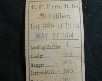 Spring Sale Vintage 1914 dated Ball Cartridge Frankford Arsenal Lot Card Ticket