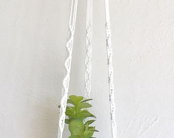 mod coral & white plant hanger