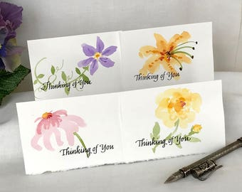 Painted Watercolor Flower Cards - Watercolor Floral Greeting Cards - Clematis, Lily, Zinnia, Peony - Thinking of You -  Set of 4 Notecards