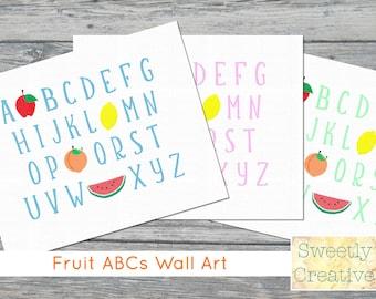 Fruit ABCs Wall Art - Three Color Alphabet Bundle - INSTANT DOWNLOAD - Printable Digital Files