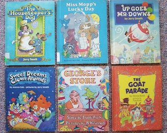 1980s Weekly Reader Book Collection - Clown-Arounds, Georges Store, Up Goes Mr. Downs, Miss Mopps Lucky Day - Children's Book Lot of 12