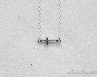 Dainty Sideways Cross Necklace Sideway Silver Everyday Cross Charm Necklace