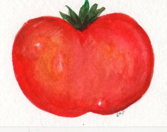 Original ACEO Tomato Watercolor Painting, ACEO Card Art, Small Farmhouse decor, small Kitchen Wall Art, SharonFosterArt, SharonFosterArt