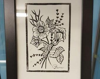 Botanical Flower Linocut Lino Print