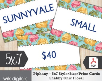 Piphany Style Cards 5x7 Signs, Size Card, Price Sign, Shabby Chic Design, Fashion Stylist, PRINTABLE, INSTANT DOWNLOAD