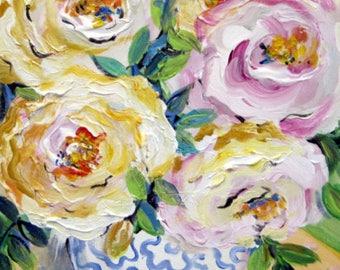 Gentle roses Original Painting 16 x 20 Art by Elaine Cory