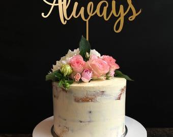 Always Cake Topper, Monogram Wedding Anniversary Cake Topper, Heart Sign, Infinity Love, Wedding Cake Topper