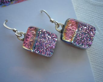 Pink and Lilac Earrings, Dichroic Fused Glass, Two Pinks, Women's Earrings, Sterling Wires, Dichroic Jewelry, Dangle Drop, Home Made Jewelry