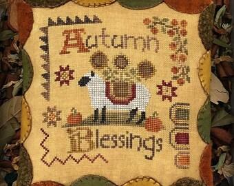 Autumn Blessings Primitive Cross Stitch Chart Digital Pattern
