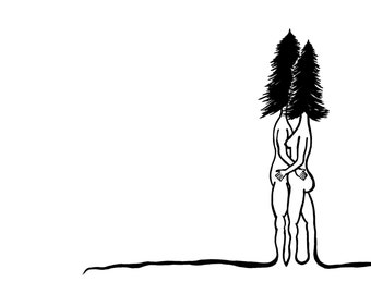 Tree People - 8 x 10 Signed Art Print - Ecofriendly Paper and Nontoxic Inks - Surrealism, Abstract, Black and White