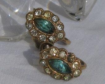 Alluring Aquamarine Blue Marquise Cut Rhinestone Circled by Clear Stones Petite Earrings, Mid Century Gold Screw Backs