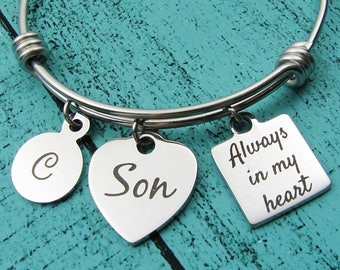 remembrance gift, son memorial bracelet, loss of son, sympathy gift son, memorial bracelet, in loving memory son, loss of loved one child