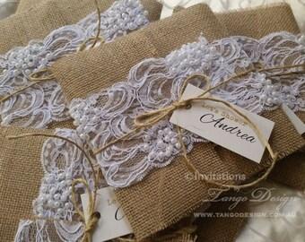 BURLAP and LACE wedding Invitations. RUSTIC invitation. Shabby chic wedding.  Burlap lace invites. Country, boho. Hessian invite beads lace