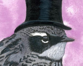 """Mr. Butter Butt (yellow-rumped warbler in tophat) canvas print 5"""" x 7"""""""