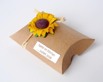 Ensemble de 10 boîtes à dragées coussins pour mariage/anniversaire, thème nature/champêtre tournesol, personnalisables