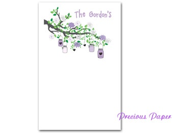 Personalized purple bird on a branch notepads bird and tree notepads Personalized purple family note pads