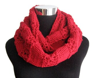 The Stacey Scarf, Cherry Red Lace Striped Knit Infinity Scarf, Red Knit  Circle Scarf