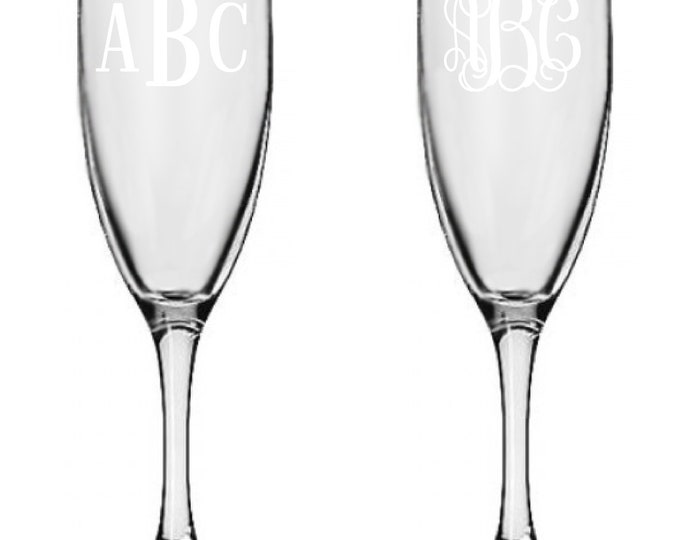 12 Personalized Champagne Glasses Custom Engraved Roman or Vine Monogram