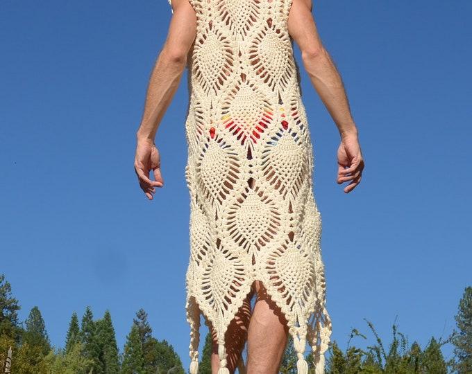 Crochet Vest Sleeveless Crochet Pineapples Psychedelic Lace