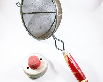 Vintage Kitchen Red Handle Tools, Strainer with chippy wooden handle, Red Handled biscuit cutter, Great Display piece