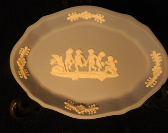 Wedgewood Blue Jasperware Oval Dish, Five Children   p271