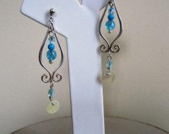 Victorian Earrings Edwardian Sterling Silver Beaded Dangle Blue - 2.5 Inches