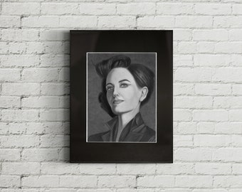 Miss Peregrine, Framed Graphite Drawing Print