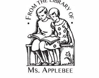 Vintage Children Reading Custom Ex Libris Bookplate Rubber Stamp E04