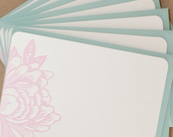 Stationery, Letterpress : Peony Pink Blossoming Flower Notes, box of 50 small flat cards w personalized envelope color choice