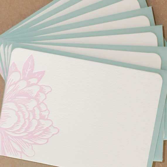 Stationery, Letterpress : Peony Pink Blossoming Flower Notes, box of 25 small flat cards w personalized envelope color choice