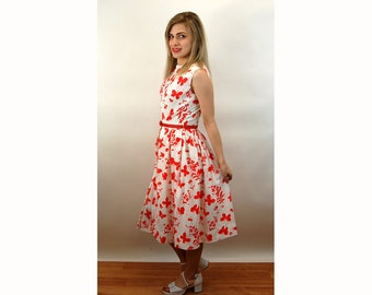 1960s dress butterfly dress red white pleated dress nylon crepe Stacy Ames dress Size M