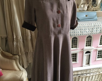 1940s beige wool dress