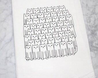 Cat Flour Sack Towel - Cotton Dish Towel - Tea Towel - Cat Towel - Dish Towel  - Kitchen Towel - Kitty