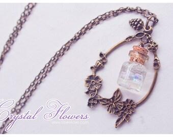 Glass Bottle pendant, flower glass Bottle Necklace. Glass bottle pendant, Cute necklace, flower necklace, fairytale bottle charm necklace