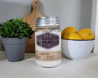 lemon zest scented farmhouse candle. mason jar candle. citrus candle. lemon candle. kitchen candle. 8oz. 16oz. wax melts. soy.
