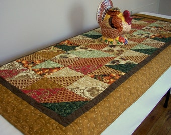 Turkey Table Runner Quilted Thanksgiving Leaves Pumpkins Quiltsy Handmade Quilt FREE US Shipping