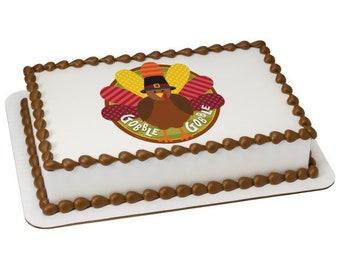 Gobble Gobble Turkey Edible Cake Topper